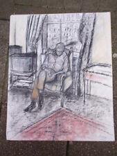 BLAKEY FIRMATO CARBONCINO pastelli disegno di un gentiluomo in una sedia su carta