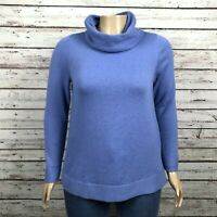 Chico's Turtleneck Sweater Shirt 2 LARGE 12 Cornflower Blue Cotton Blend