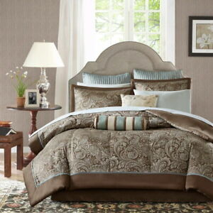 Light Blue Brown Paisley 12 pc Comforter Sheet Set Full Queen Cal King Bed Bag