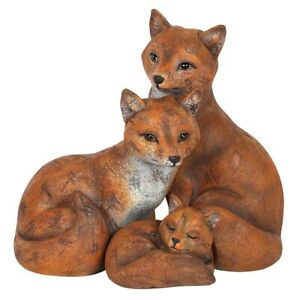FOX FAMILY ORNAMENT MOTHER FATHER BABY PARENTS FIGURINE LOVE GIFT ORNAMENT DECOR