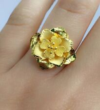 24K Pure Solid Gold 3D Flower Shiny Ring . Sz 6.25, 7.67 Grams