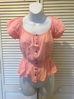 Guess Women's Pink Short Sleeve Button Down Blouse Top Size S Small