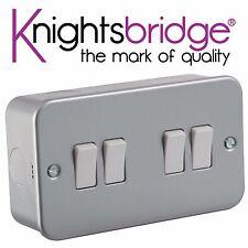 2x Knightsbridge metal revestido Metalclad 10A 10 Amp 4 Gang 2 vías interruptor de luz de cuatro