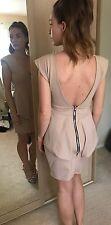 Sexy Nude Womens Plunge Peplum Dress Size 8