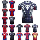 Men's T-shirts Spider Superhero Compression Tights Short Sleeve Tops Tee Gym