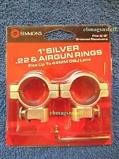 SIMMONS 1 Inch + SILVER + SCOPE RINGS .22 Style 3/8 inch DOVETAIL, Medium Height