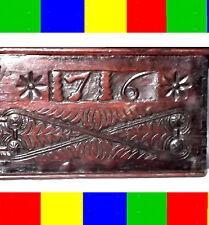 1716 ANTIQUE CARVED HOLY BIBLE BOX+LAP SLOPE DESK Writing Pen 1611 King James