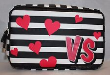 Victoria's Secret Lg Cosmetic Bag Travel Case - Black & White Stripes Red Hearts