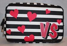 Victoria's Secret Lg Cosmetic Bag Travel Case - Black & White Stripes Red Hearts