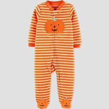 Baby Stripe Pumpkin Halloween 1pc Pajama - Just One You Made by Carter's 9 MOS
