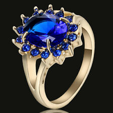 Size  7 Blue Sapphire Gem Brand Princess Engagement Ring 10KT yellow  Gold Party