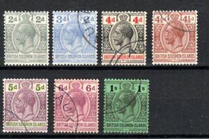 British Solomon Islands 1927-31 values, 2d to 1s FU CDS