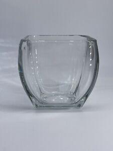 Unbranded Clear Heavy 4x4 Square Glass Versatile Planter Vase Home Office Decor