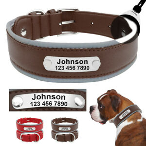 Large Dogs Personalised Collar Reflective Leather Dog Collar Engraved ID Name