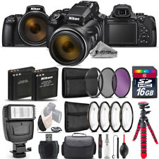 Nikon COOLPIX P1000 Digital Camera 125x + Flash +7PC Filter + EXT BAT - 16GB Kit