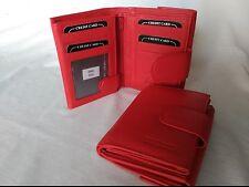 cartera mujer de piel color rojo monedero exterior