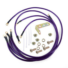 Professional Purple 5Point Car Grounding Earth Wire Performance Cable System Kit