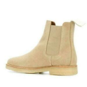 Mens Suede Slip On Ankle Boots Chelsea High Top Real Leather Leisure Shoes Retro