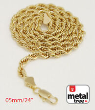 """Men's Women's 14K Yellow Gold Plated 5mm Rope 24"""" Chain Necklace """"MADE IN KOREA"""""""