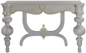 CONSOLE PORTICO PEWTER GRAY OLD WORLD GOLD ACCENTS DISTRESSED WOOD TURNED LEGS