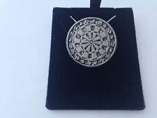 S17 Large Dartboard  on a 925 sterling silver Necklace Handmade 16 inch chain