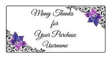24 Personalised Quality Plus Thank you for your Purchase Labels -  Purple Flower