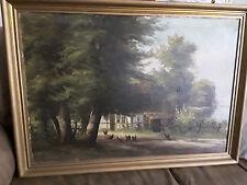 Vintage Charles Bischoff Original Barn Yard Oil Painting 1923
