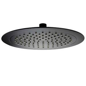 9 inch 238mm Round Rainfall Shower Head Bathroom Ultra Thin Overhead Matt Black