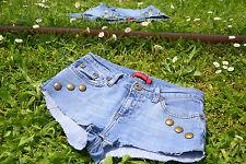 River Island Vtg Style Womens Studs Custom Hot Pants Denim Jeans Shorts sz 8 M31
