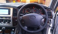 FITS TOYOTA PRADO,4RUNNER,HILUX REAL BLACK  LEATHER STEERING WHEEL COVER