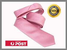 Salmon Light Pink New Slim Solid Mens silk Tie groom wedding skinny Necktie