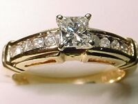 14kt Gold .50 Carat T.D.W Princess Cut & Round  Brilliant cut Engagement  Ring!