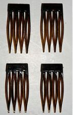 VINTAGE BEN HUR MACHINE SNAPPED TINY TORTOISE HAIR COMBS SET OF 4 SIGNED