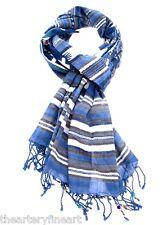 MANDO 'Navajo' Beads Embellished Cotton Scarf Tassled Ends Designer Blue **NWT**
