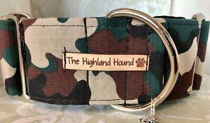 """1.5"""" Camo Handmade Martingale Dog Collar Greyhound, Whippet, Lurcher, Saluki"""