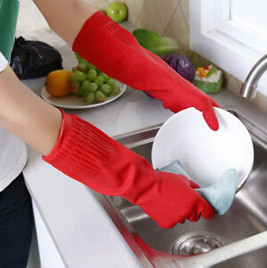 Kitchen Washing Gloves Long Waterproof Rubber Latex Dish Fruit Cleaning Tool New