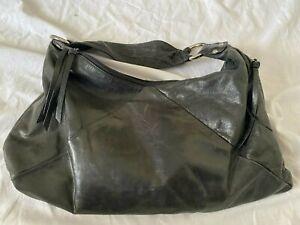 Hobo International Black Leather Slouchy Hobo Shoulder Bag Silver Ring Hardware