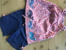 Mini Boden girls outfit pink smock top whale appliqué & bloomers 18-24 mths VGC