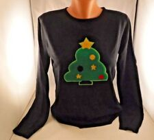 Compania Fantastica Knit Top sweater Christmas Tree Sz M Black Holiday Festive