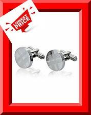 Stainless Steel Round Cuff Links w/ Tartan Pattern For Dress Shirt Wedding Cuffs