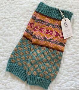 NEW French Knot Lindsay Mason 100% Wool Leg Warmer Fair Isle Turquoise Mustard