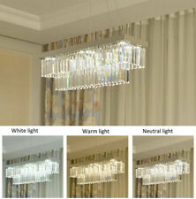 chrome / gold / black rectangular dining room clear crystal LED chandelier light
