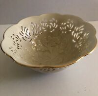 Lenox Collection Bowl Cream With Gold Rim With Embossed Cutouts Preowned