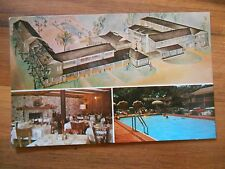 Old Vintage 1963 Postcard Town House Motor Hotel Pensacola Florida Dining Pool