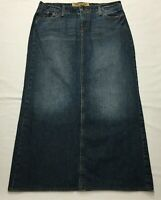 "HINT Denim Skirt Size 9 (32"") Long Straight Dark Blue Jean Factory Distressed"