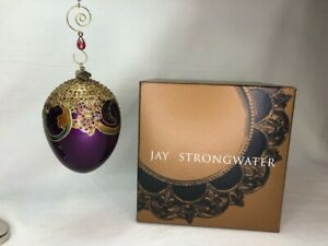 2002 Jay Strongwater Large Purple & Gold Egg Ornament Swarovski Crystals