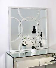"""Circles White Shabby Chic Square Window Wall Mirror 32"""" x 32"""" (80cm x 80cm)"""