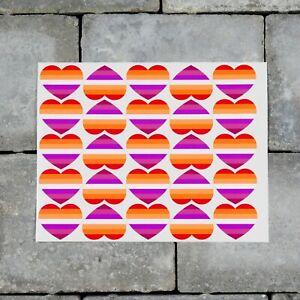 25 x Lesbian Flag Heart Stickers Decals LGBTQ Pride - 37mm x 30mm - SKU7172