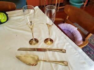 LENOX Wedding Promises Cake Knife & Server + Toasting Glasses Silverplate Heart