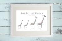 Personalised Giraffe Family Tree Print Gift Bespoke Unique Present New Born